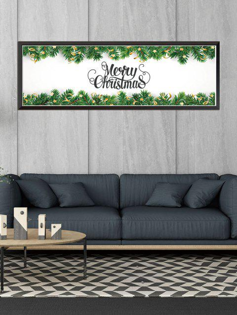 Merry Christmas Pattern Removable Wall Sticker - PINE GREEN