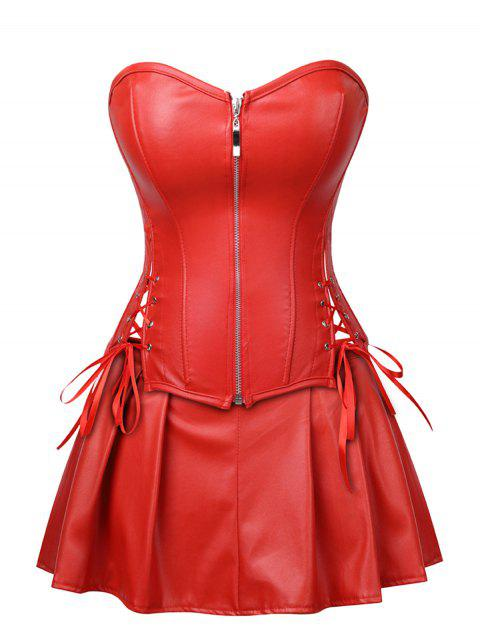 Plus Size Strapless Lace Up Corset with Mini Skirt - RED 2X