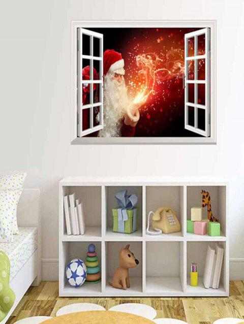 Christmas Santa Claus Fire Print Wall Sticker - multicolor 90*58CM