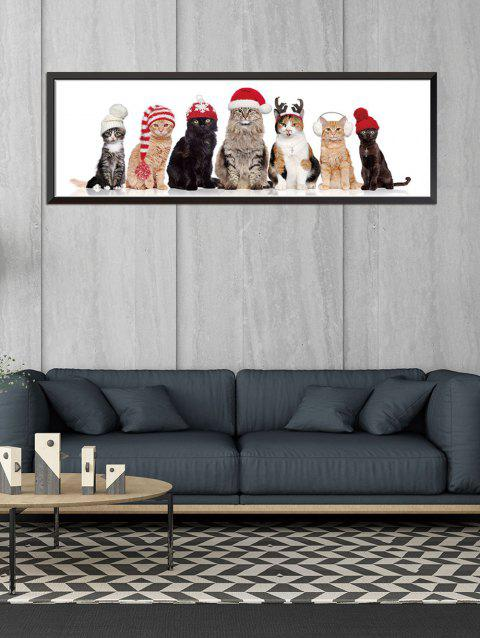 Christmas Cat Pattern Removable Wall Sticker - WHITE