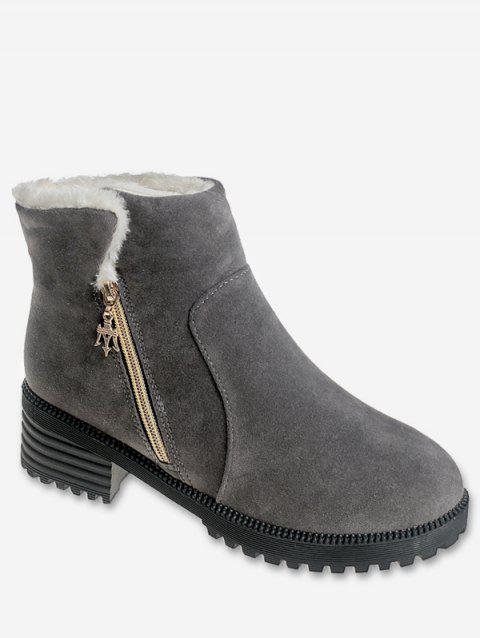 Side Zip Plush Suede Ankle Boots - GRAY EU 38