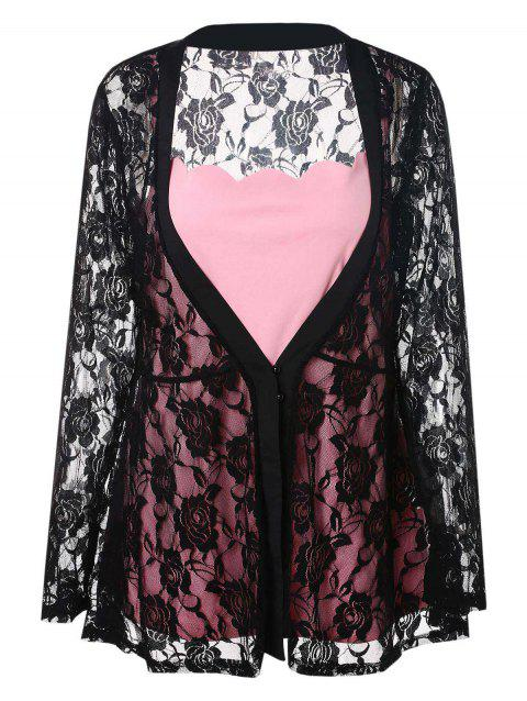 Plus Size Solid Color Cami Top and Sheer Lace Kimono - BLACK L