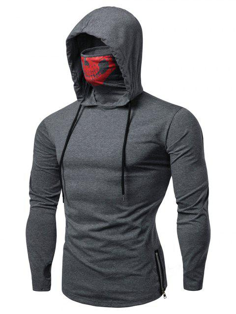Fashion Drawstring Scare Mask Hoodie for Man - GRAY L