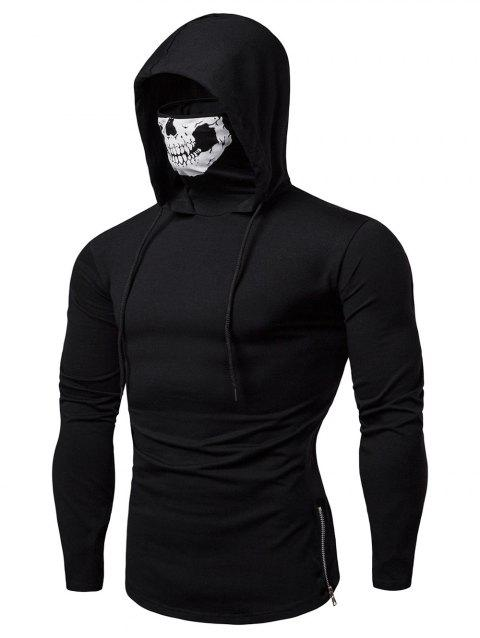 Fashion Drawstring Scare Mask Hoodie for Man - BLACK S