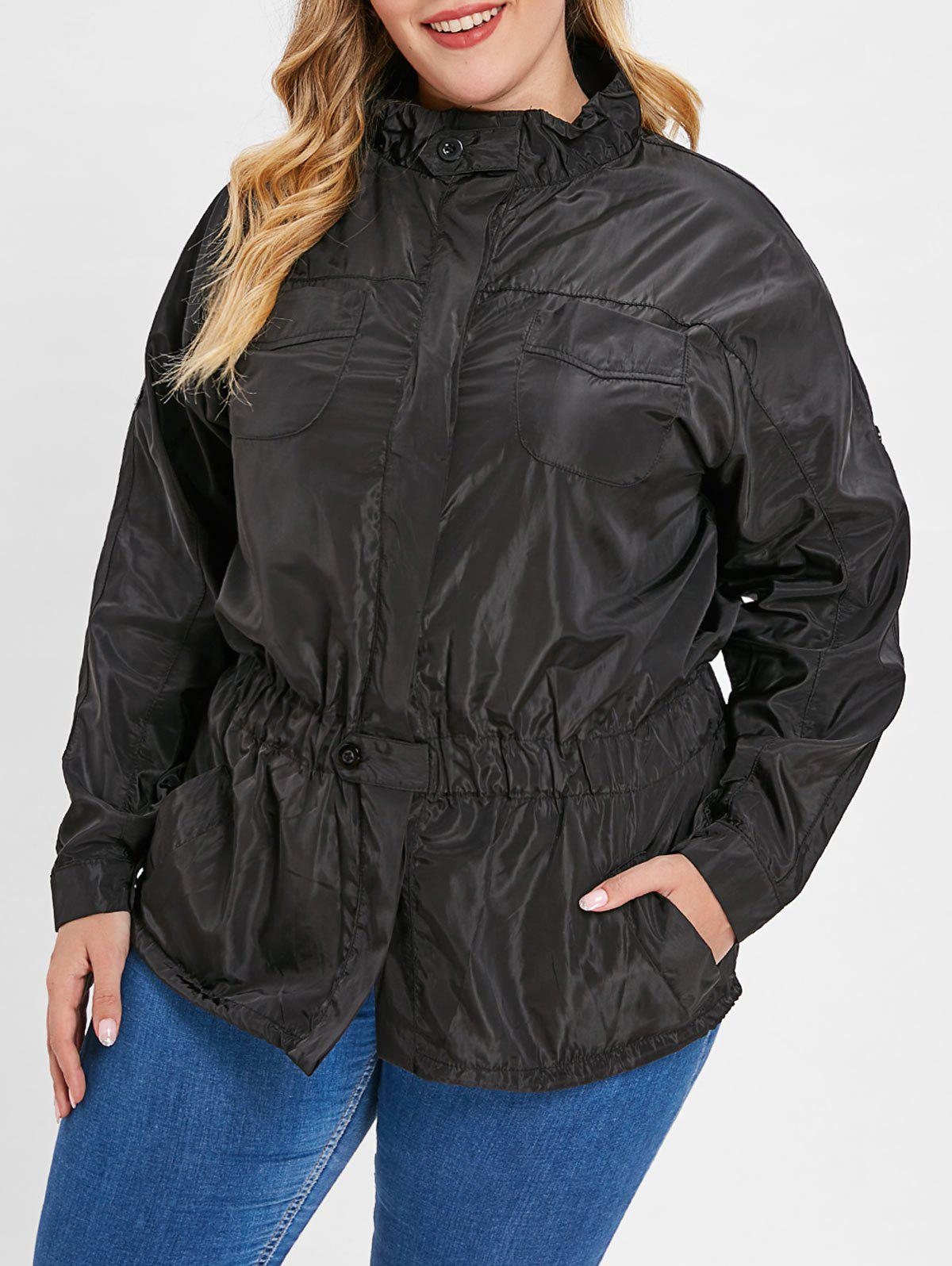 Drawstring Waist Windbreaker Jacket