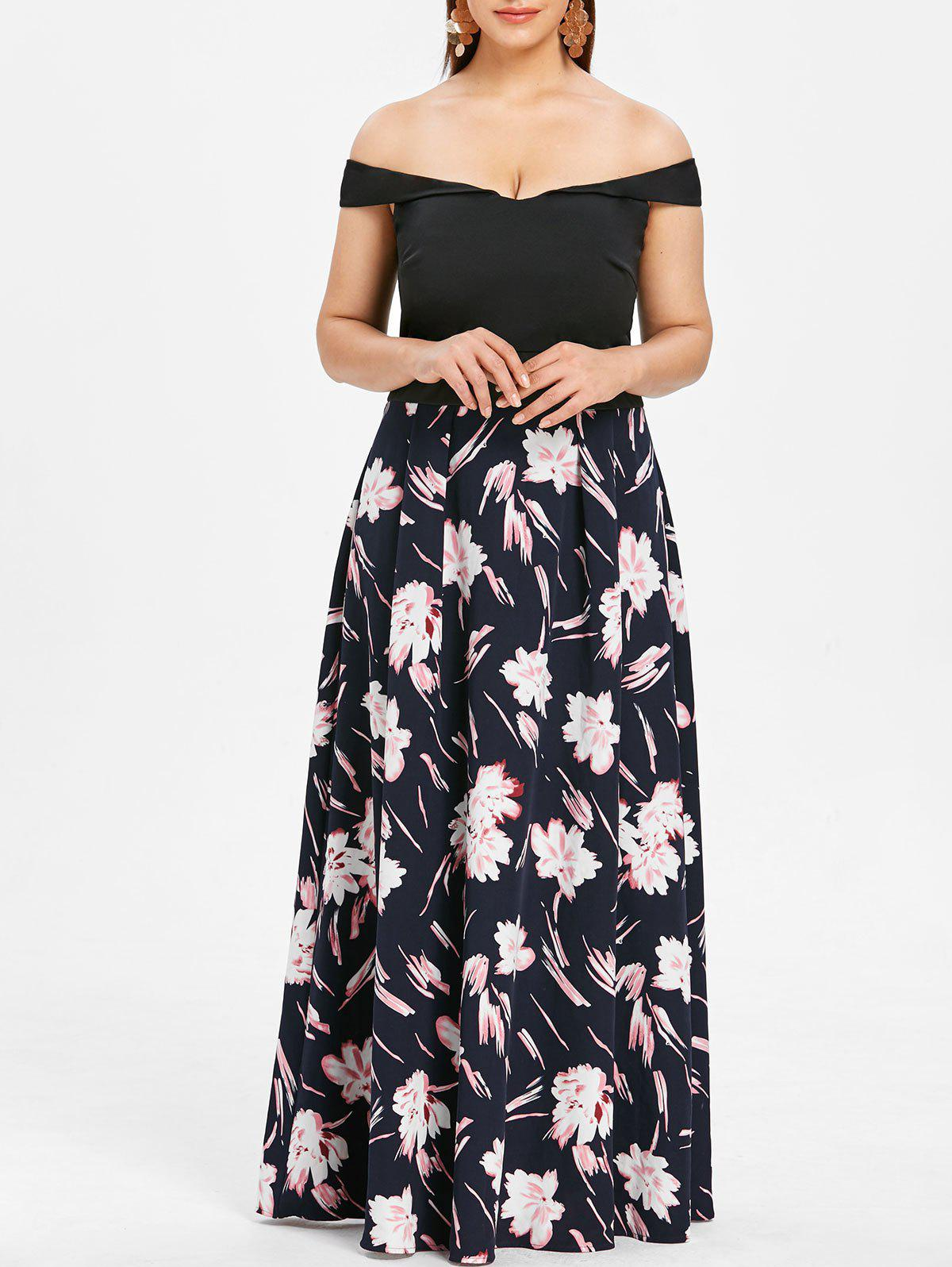 Plus Size Off The Shoulder Floral Print Maxi Dress