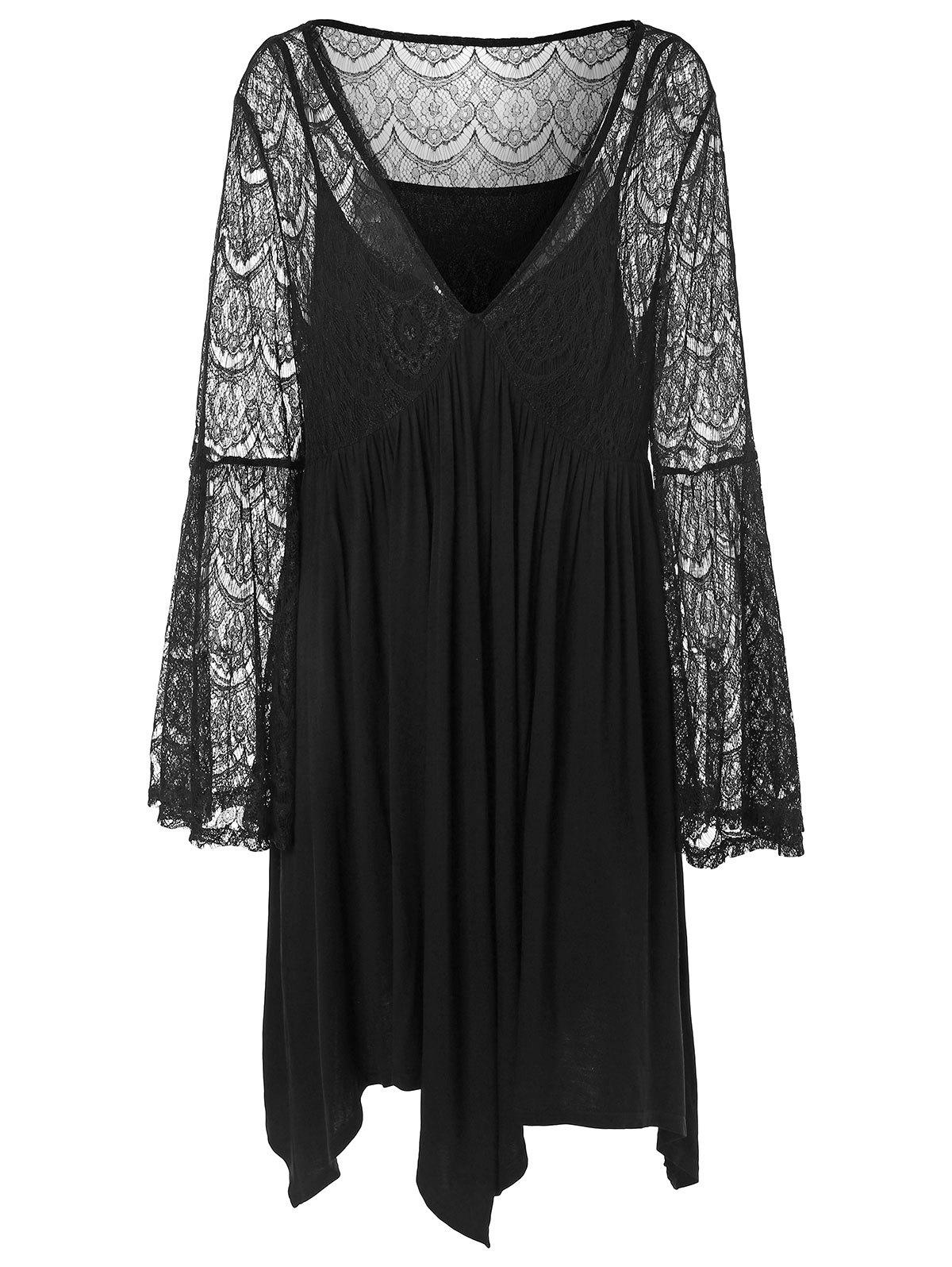 Plus Size Plunging Neckline Bell Sleeve Lace Insert Dress - BLACK 1X
