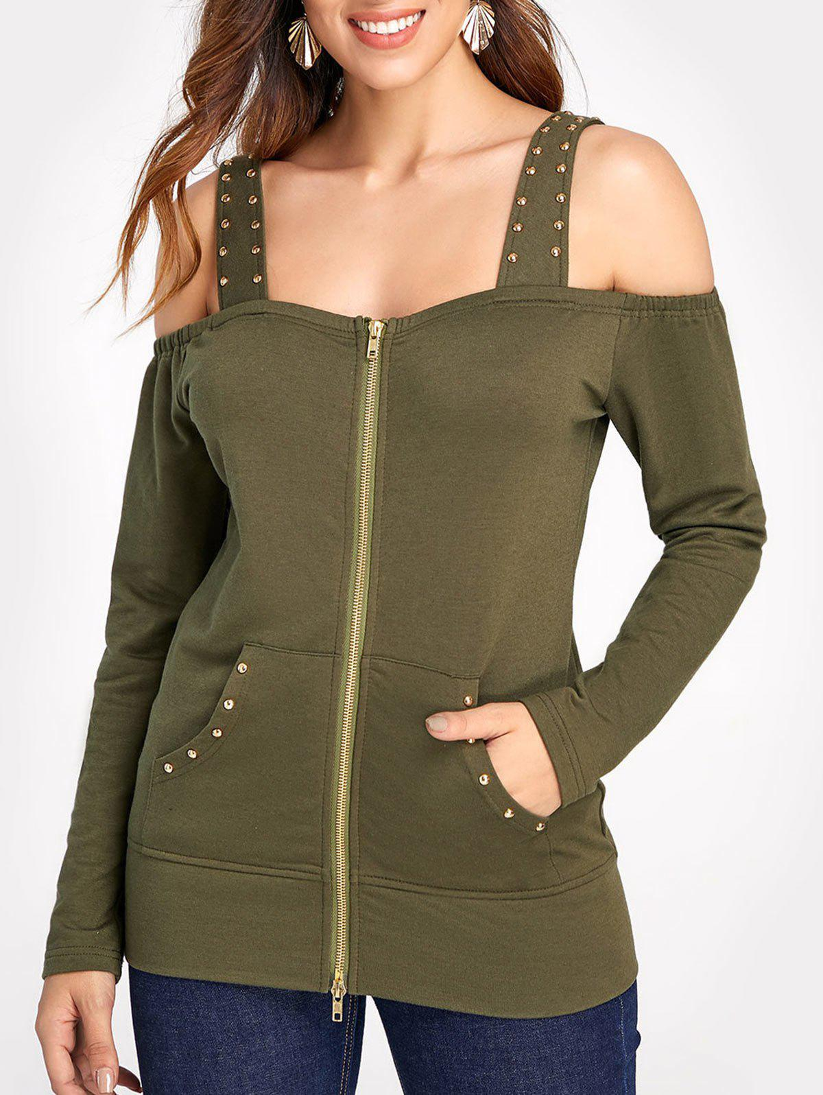 Zipper Fly Sweatshirt with Cold Shoulder - ARMY GREEN M