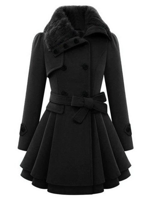 Double Breasted Turn Down Collar Coat - BLACK M