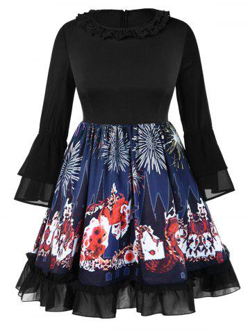 Plus Size Halloween Flare Sleeves Graphic Ruffles Neck Dress