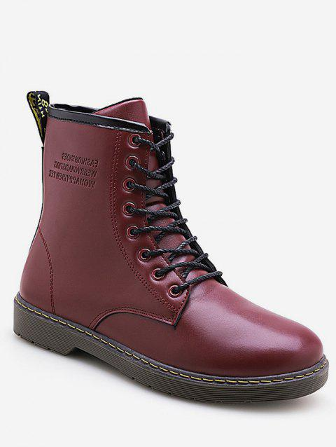 Solid Color Lace Up Ankle Boots - RED WINE EU 43