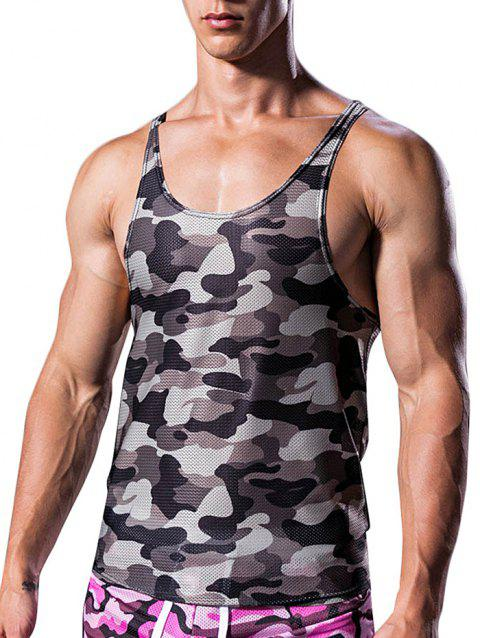 Camouflage Pattern I-shaped Tank Top - CLOUDY GRAY 2XL