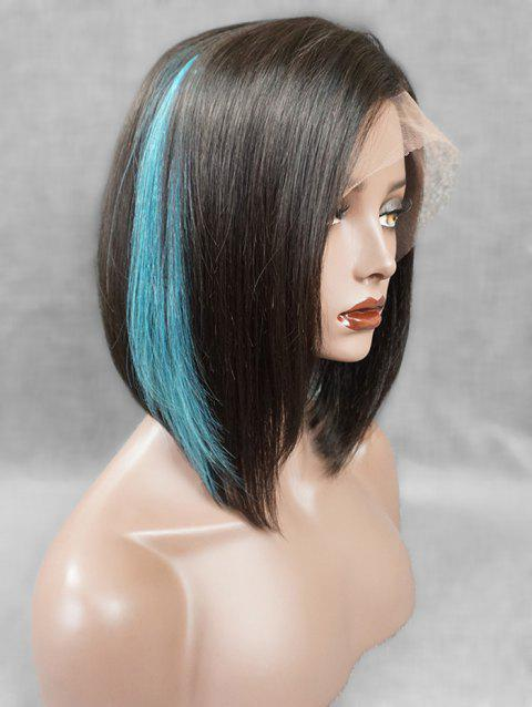 Short Side Fringe Highlight Straight Bob Human Hair Lace Front Wig - multicolor 12INCH