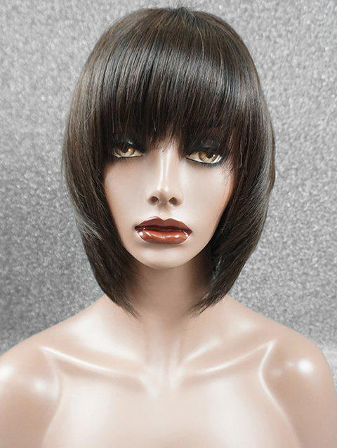 Full Fringe Straight Short Bob Human Hair Wig - DEEP BROWN 10INCH