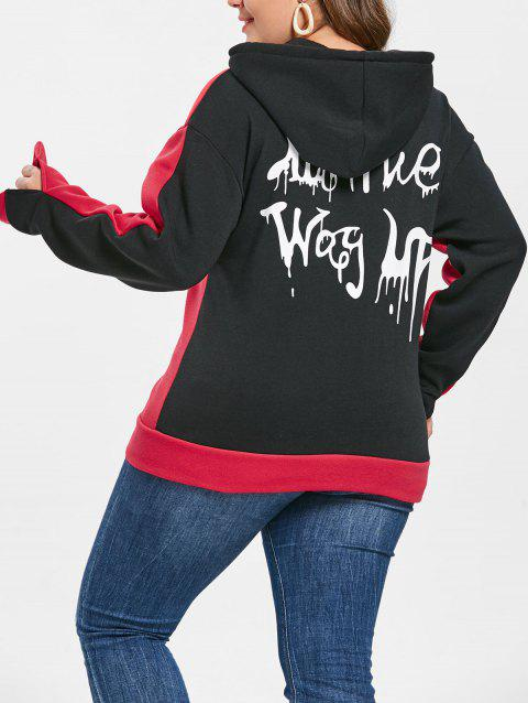 Plus Size Letter Printed Halloween Hoodie - RED 5X