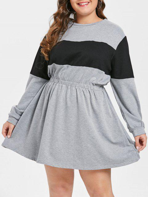 2018 Plus Size Elastic Waist Hoodie Dress In Light Gray 1x