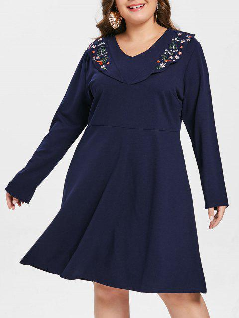 Plus Size V Neck Floral Embroidered Dress
