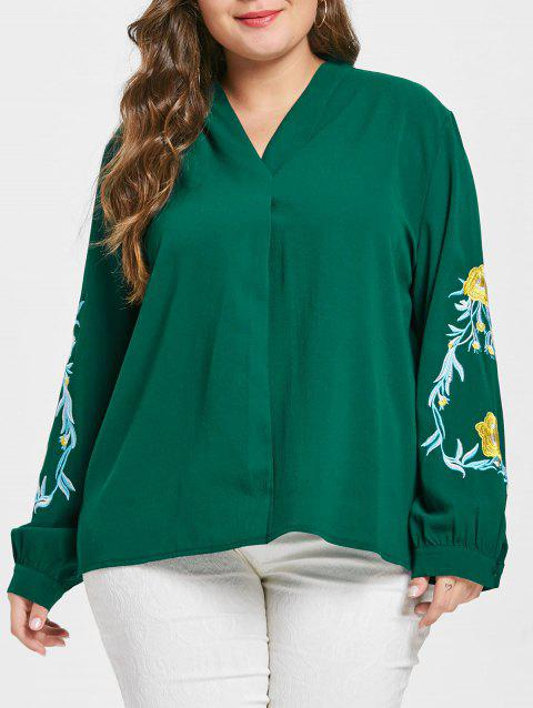 f5fc97a5d99 41% OFF  2019 Plus Size Floral Embroidery V Neck Blouse In DEEP ...