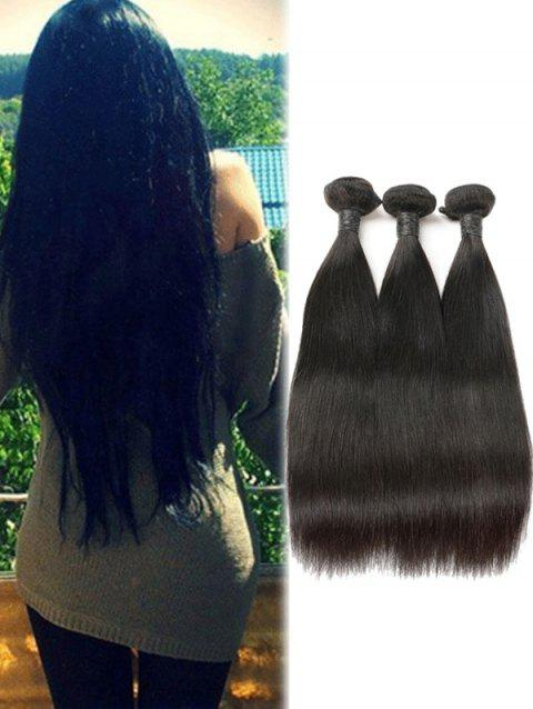 d0e6403be3 3Pcs Real Human Hair Brazilian Remy Straight Hair Weaves - BLACK 16INCH X  16INCH X 16INCH