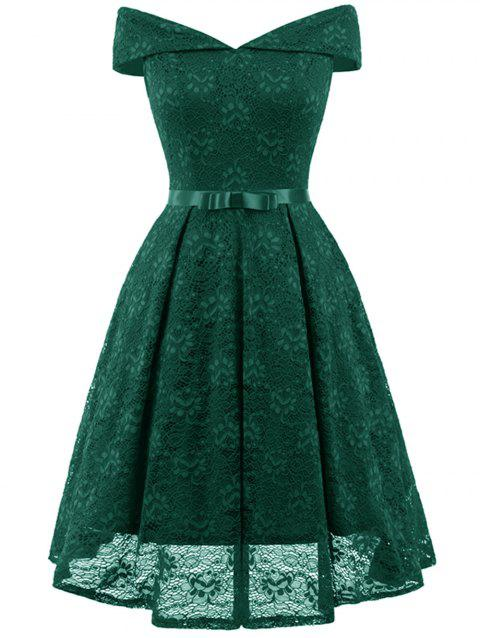 Off The Shoulder Lace Cocktail Dress - SEA GREEN M