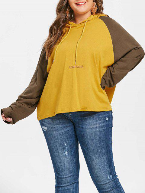 Plus Size Drawstring Americana Hoodie - YELLOW ONE SIZE