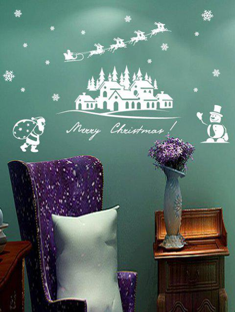 Merry Christmas Snowman Decorative Removable Wall Sticker - WHITE