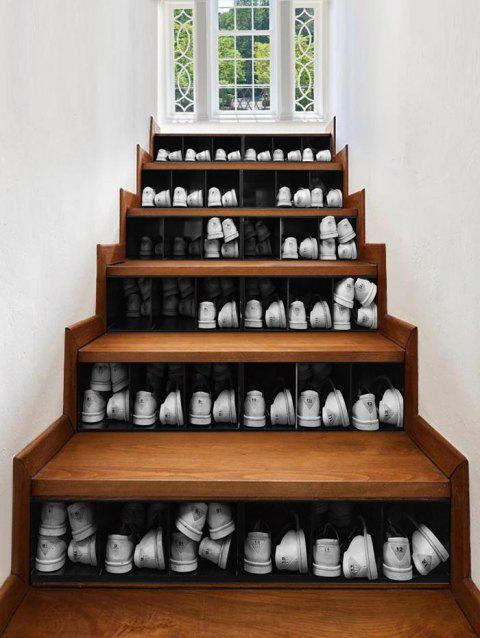 3D Shoe Cabinet Printed Removable Stair Stickers - BLACK 6PCS X 39 X 7 INCH( NO FRAME )