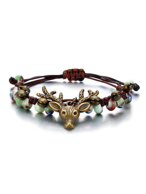 Deer Head with Bell Pattern Bracelet - multicolor