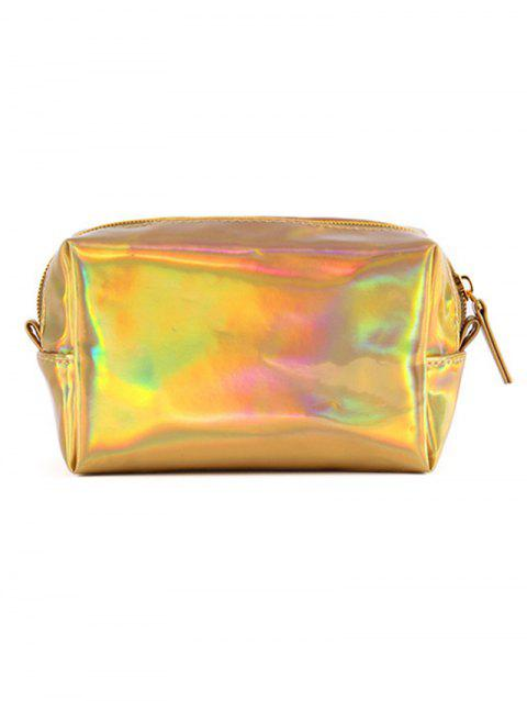 Colored Laser Pattern Shiny Cosmetic Pouch Bag - GOLD