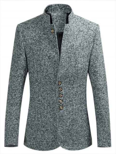 Stand Collar Single Breasted Coat - ASH GRAY XS