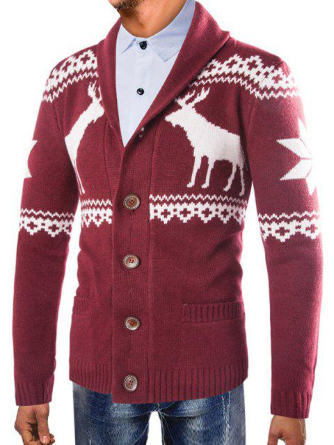 Christmas Deer Shawl Collar Button Up Cardigan - RED WINE M