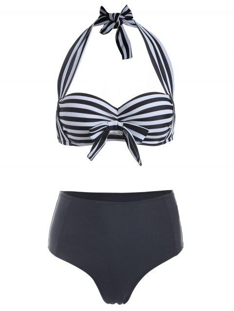Halter Stripe Bowknot High Waist Bikini Set - WHITE S