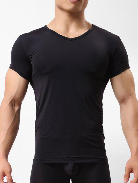 Ultrathin Solid Color Short Sleeves T-shirt - BLACK L