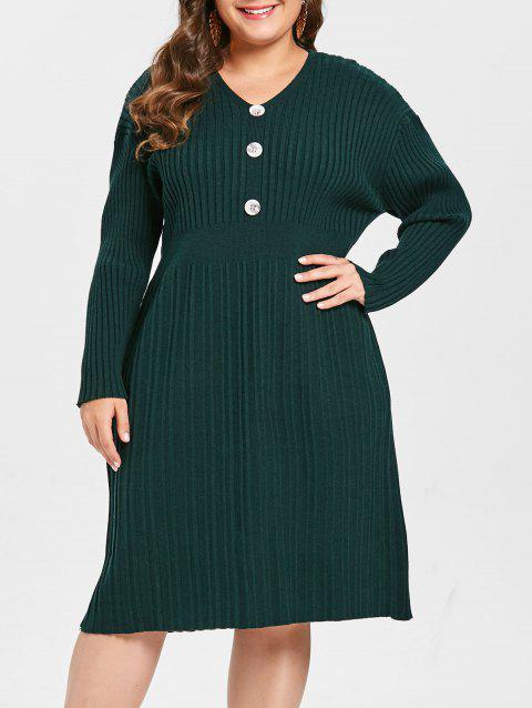 Plus Size Buttons Long Sleeves Ribbed Sweater Dress