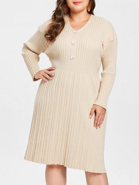 Plus Size Buttons Long Sleeves Ribbed Sweater Dress - BEIGE 1X