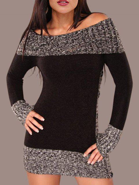 Hit Color Tunic Knitted Dress - BLACK L