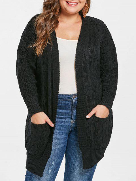 Plus Size Open Front Pockets Cable Knit Cardigan - BLACK 3X