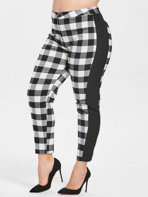 Plus Size High Waist Tartan Pants - BLACK 4X