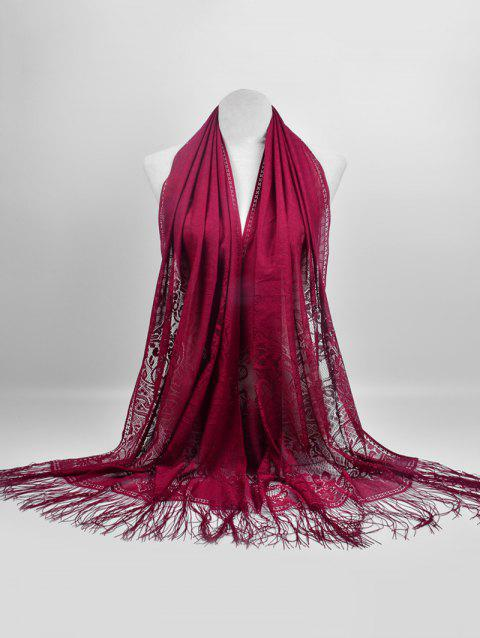 Vintage Hollow Out Floral Lace Shawl Scarf - RED WINE