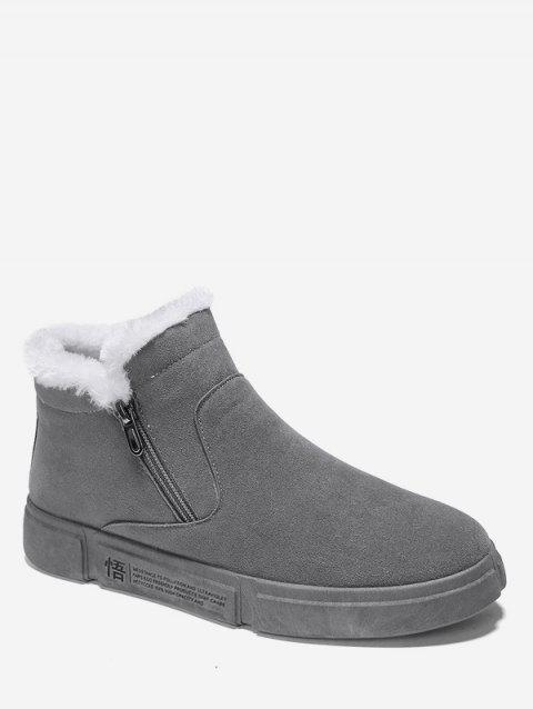 Chinese Letter Pattern Zipper Fluffy Ankle Boots - GRAY EU 39