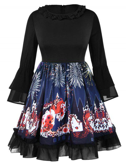 Plus Size Halloween Flare Sleeve Graphic Ruffles Neck Dress - multicolor A 1X