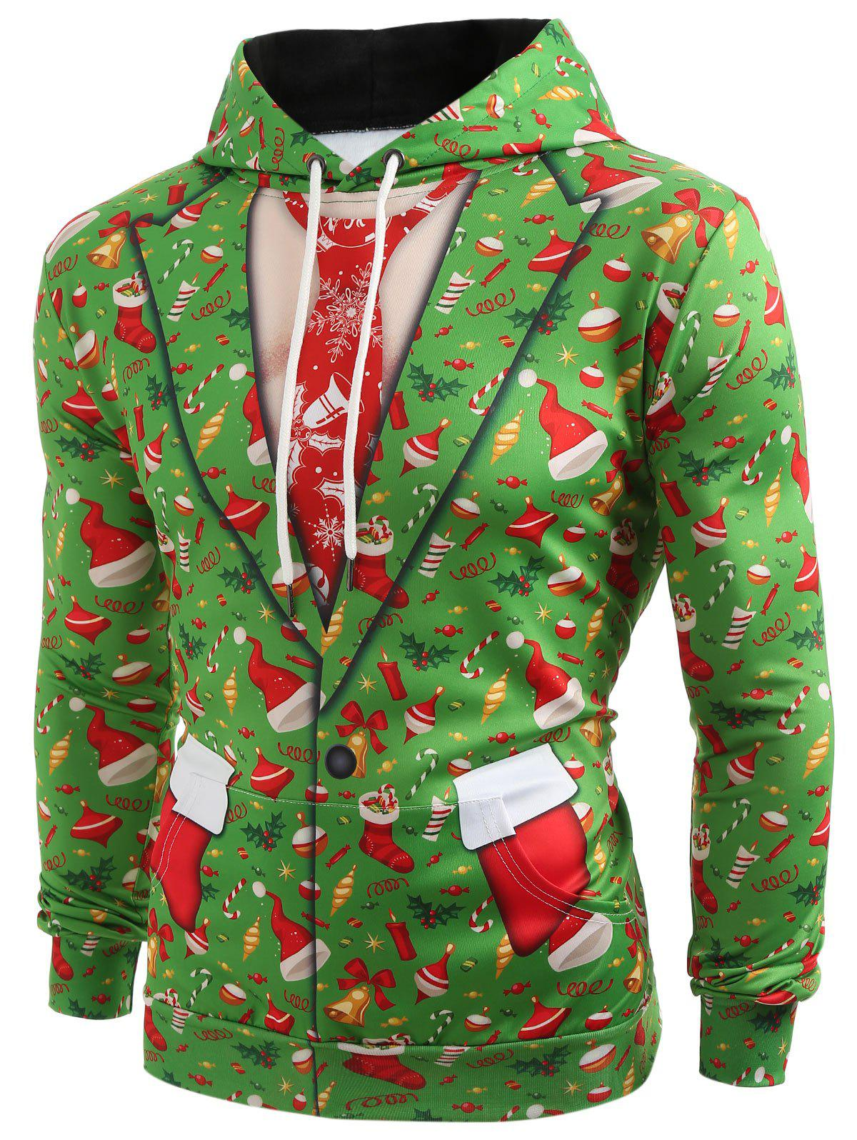 3D Christmas Elements Blazer Print Hoodie - CHARTREUSE M