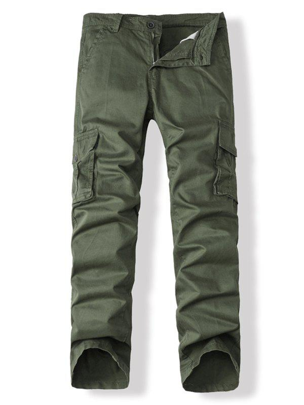 Multi Pockets Solid Zip Up Cargo Pants