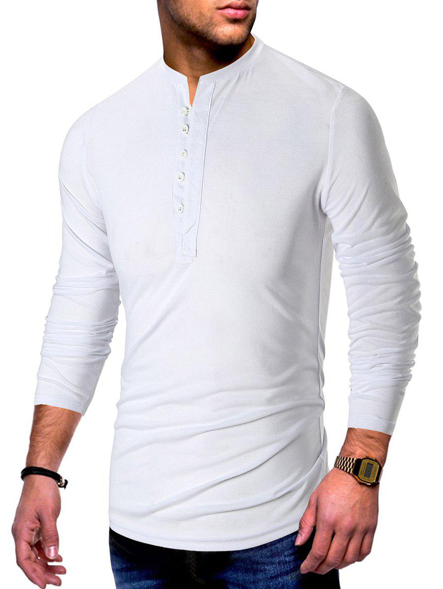 Solid Long Sleeve Henley Tee - WHITE L