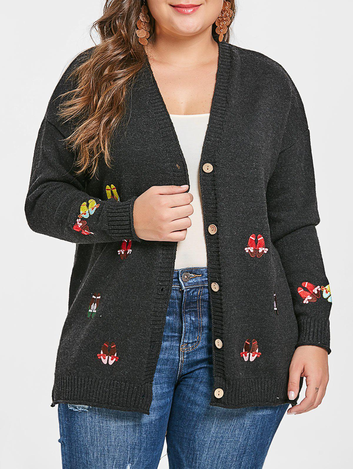 Plus Size Embroidery Drop Shoulder Cardigan