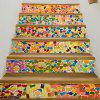 Removable Brick Wall Print Stair Stickers - multicolor 6PCS X 39 X 7 INCH( NO FRAME )