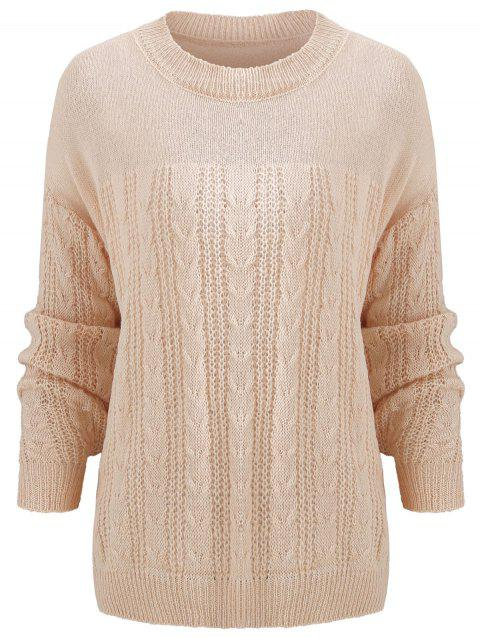 168a0e7387 2019 Cable Knit Plain Sweater In APRICOT ONE SIZE