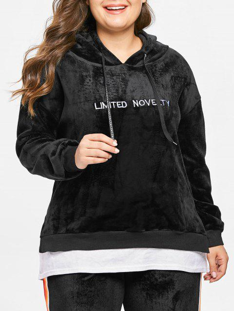 Plus Size Letters Embroidered Contrast Velvet Hoodie - BLACK 1X