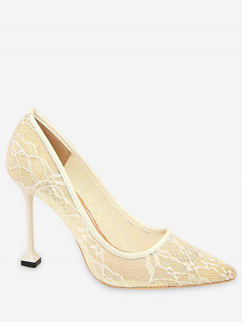 8d9724d5ee0 2019 Sheer Lace Pointed Toe Pumps In WHITE EU 38