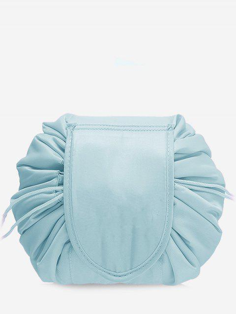 Solid Color Cosmetic Large Capacity Toiletry Bag - PALE BLUE LILY